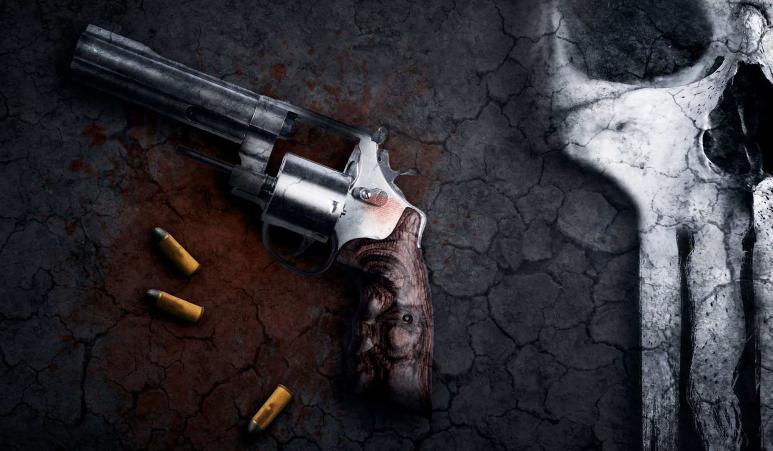 Ein Kunstvolles Bild einer Waffe, daneben liegen 3 Patronen und Knochen