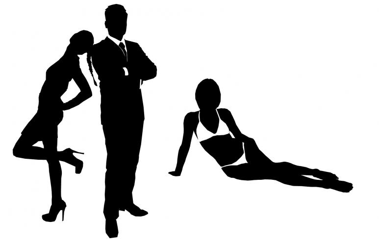 James Bond mit Frauen Silhouette